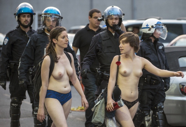 Naked students protest againt the Libera